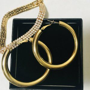 Gold-plated Set Hooped Ear Rings with Bracelet